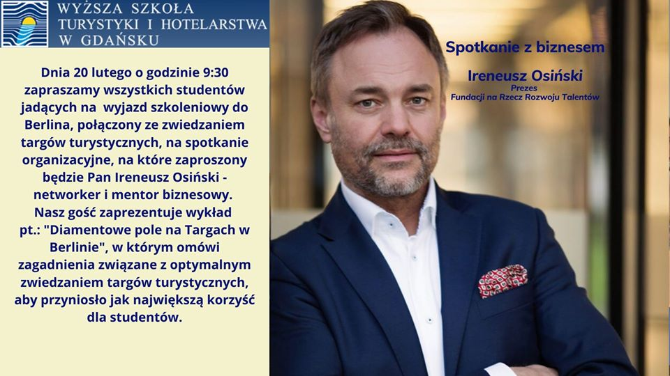 Zaproszenie na wykład Pana Ireneusza Osińskiego